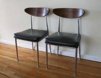 mcm pair of chairs wood and metal 1 | Picked Vintage