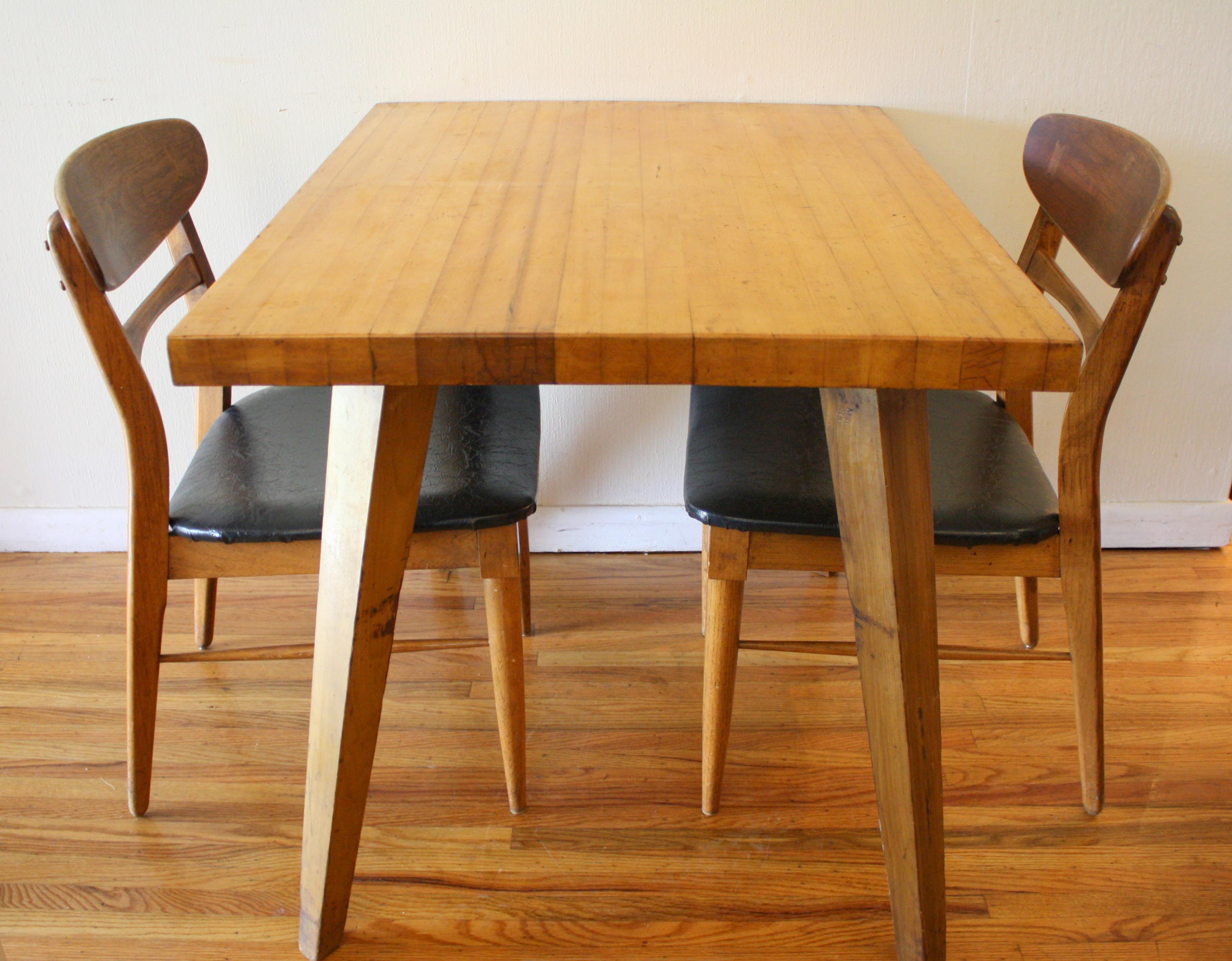 mcm blonde splayed leg dining table 5