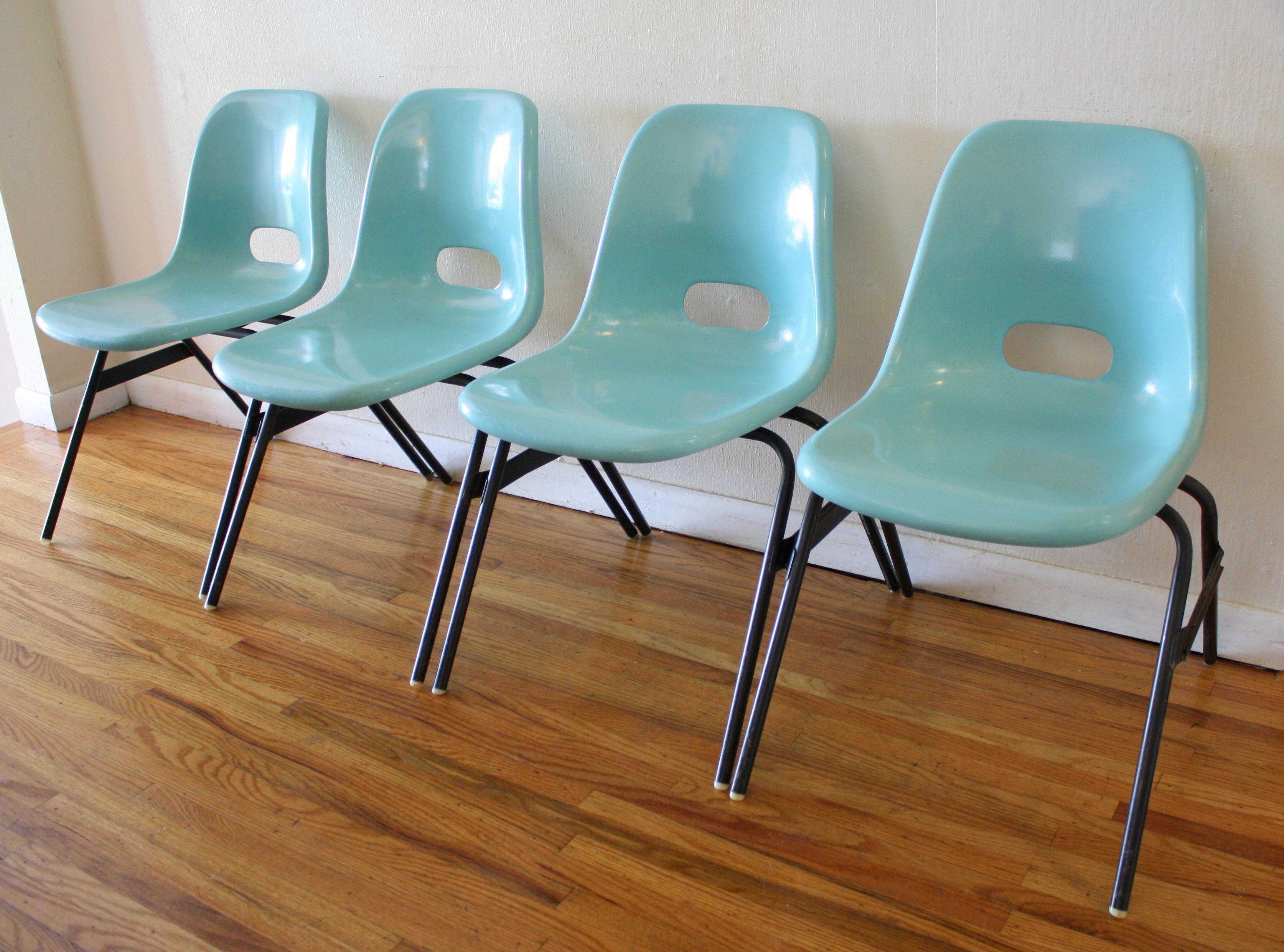 Mid Century Modern Fiberglass Stacking Chair Set  Picked
