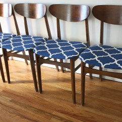 Set Of 4 Dining Chairs Antique White Table And Mid Century Modern Chair Sets Picked Vintage Mcm Blue Pattern 1