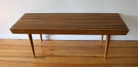 Mid Century Modern Slatted Coffee Table Bench | Picked Vintage
