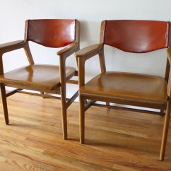 Solid Oak Pressed Back Chairs Formal Dining Mid Century Modern Gunlocke Picked Vintage