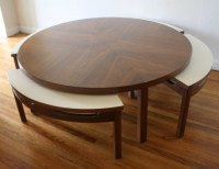 Mid Century Modern Game Coffee Table with Hidden Chairs ...