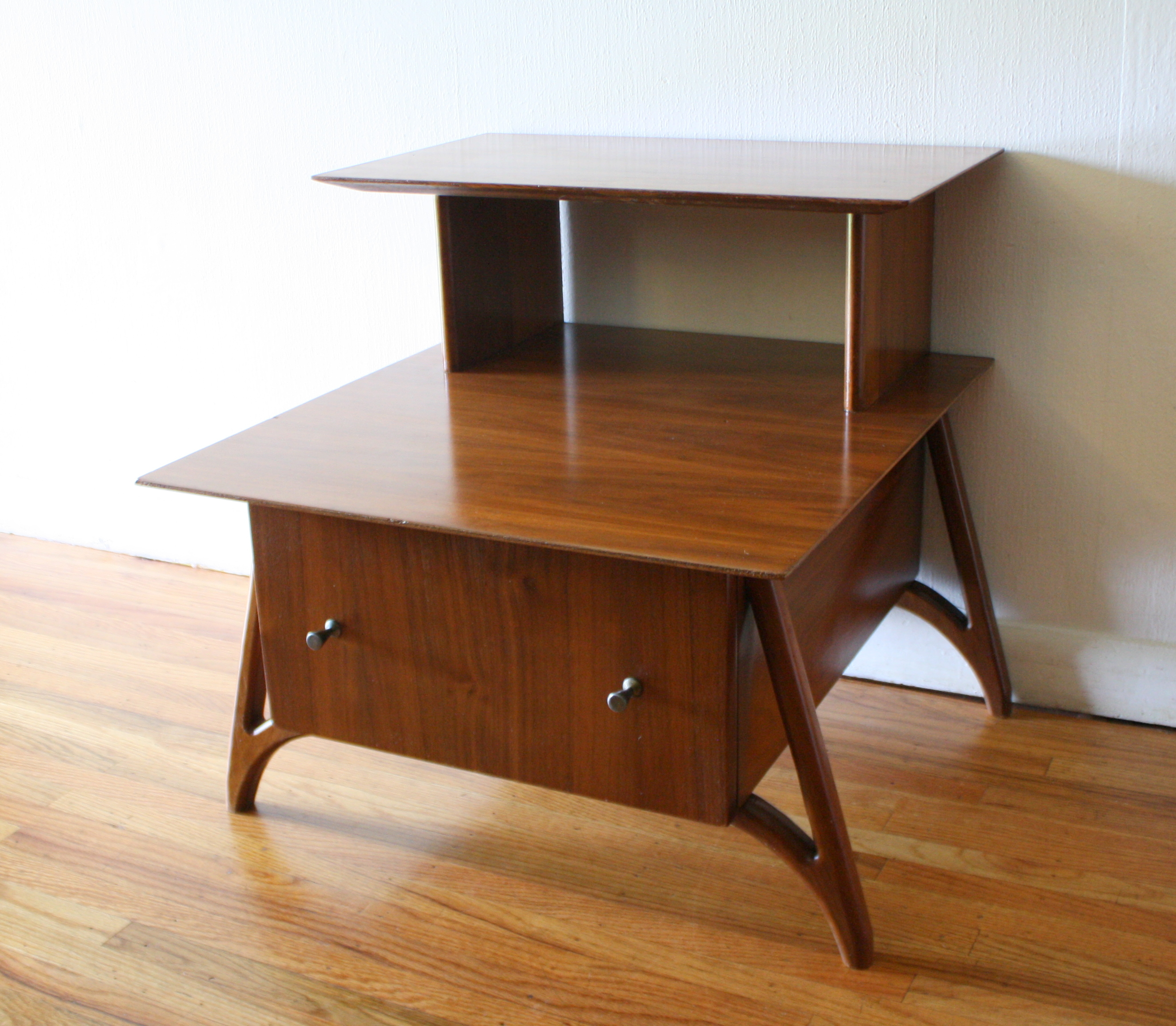 Mid Century Modern Two Tiered Side End Tables  Picked Vintage