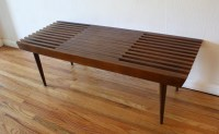 Mid Century Modern Extending Slatted Coffee Table Bench