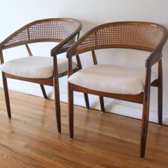 Mid Century Modern Cane Barrel Chairs Dining Chair Covers Home Depot Pair Of Rattan Back