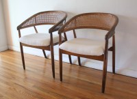 Mid Century Modern Pair of Cane Rattan Back Chairs ...