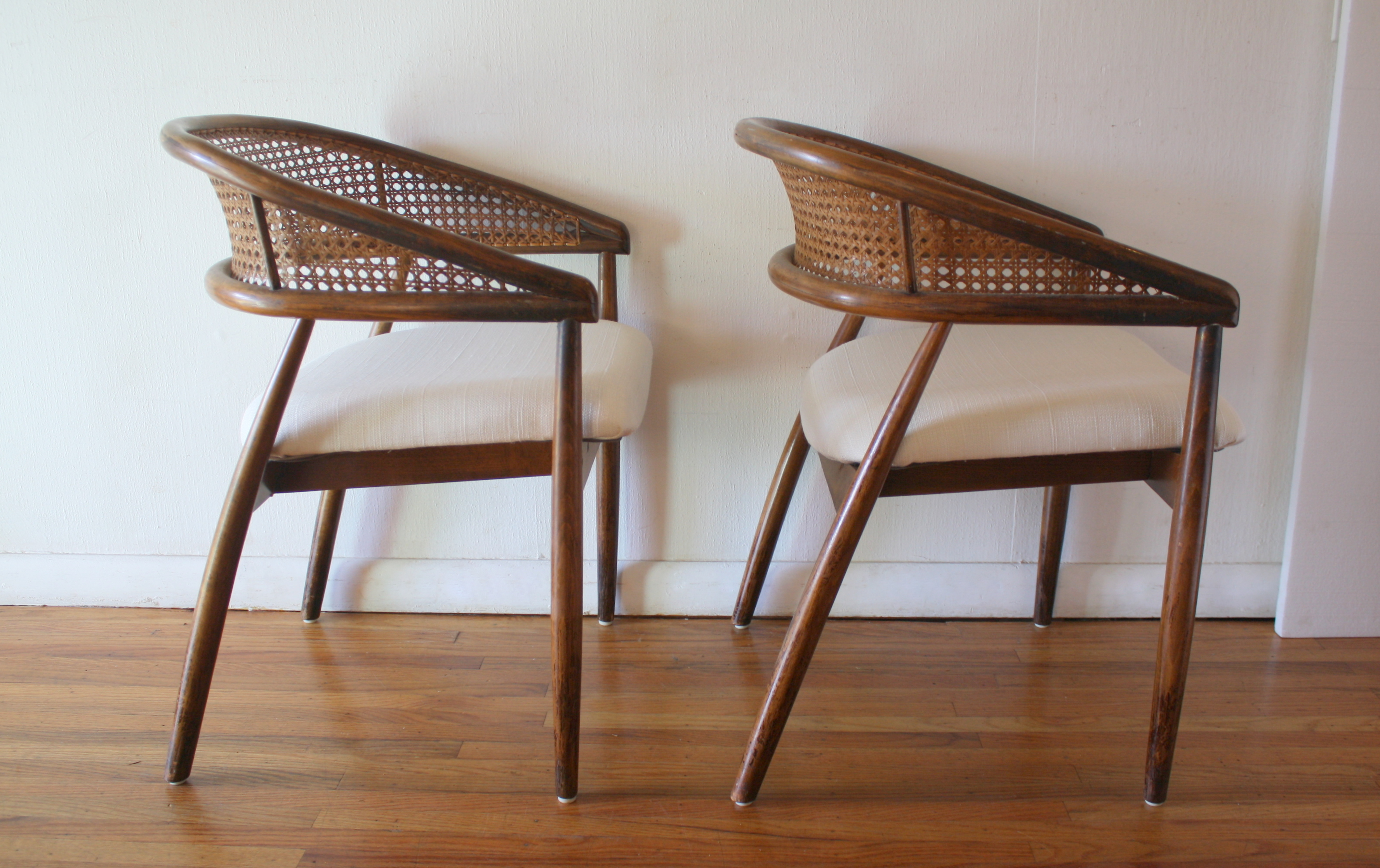 Mid Century Modern Pair Of Cane Rattan Back Chairs