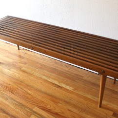 Wood Folding Table And Chairs Chair Covers Scotland Mid Century Modern Slatted Coffee Bench | Picked Vintage