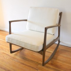 Cream Padded Folding Chairs Wooden For Rent Mid Century Modern Rocking Chair Picked Vintage
