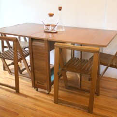Gateleg Table With Chairs Upholstered Parsons Dining Room Folding Picked Vintage