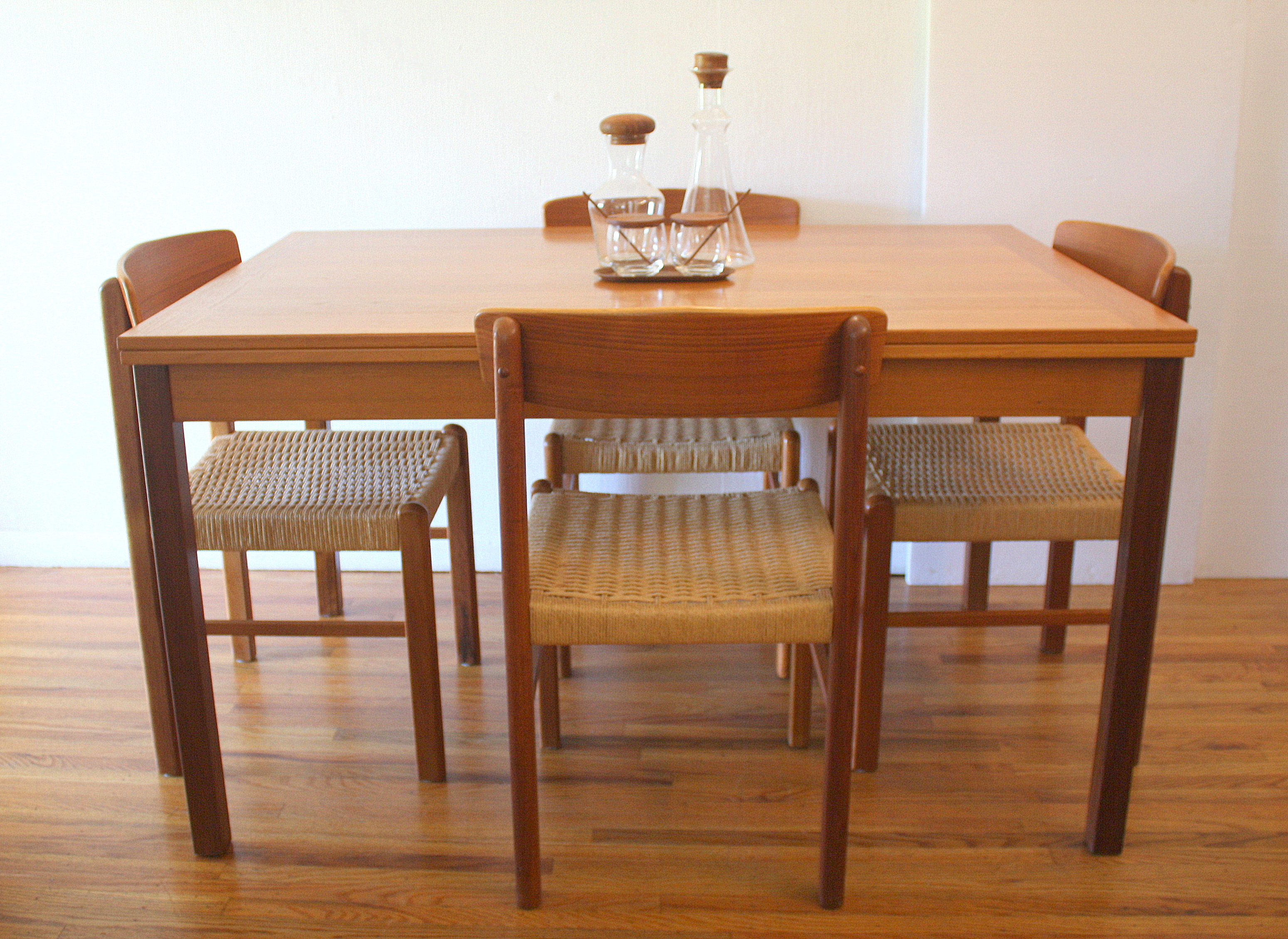 tall dining table and chairs dimensions round high top mid century modern danish teak refractory by mobler rush seat | picked ...