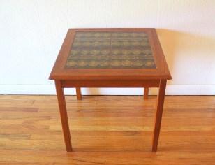 Danish teak tile table gold circles 3