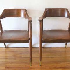 Solid Oak Pressed Back Chairs Sam S Club Upholstered Mcm Pair Of Wood Arm 1 Picked Vintage