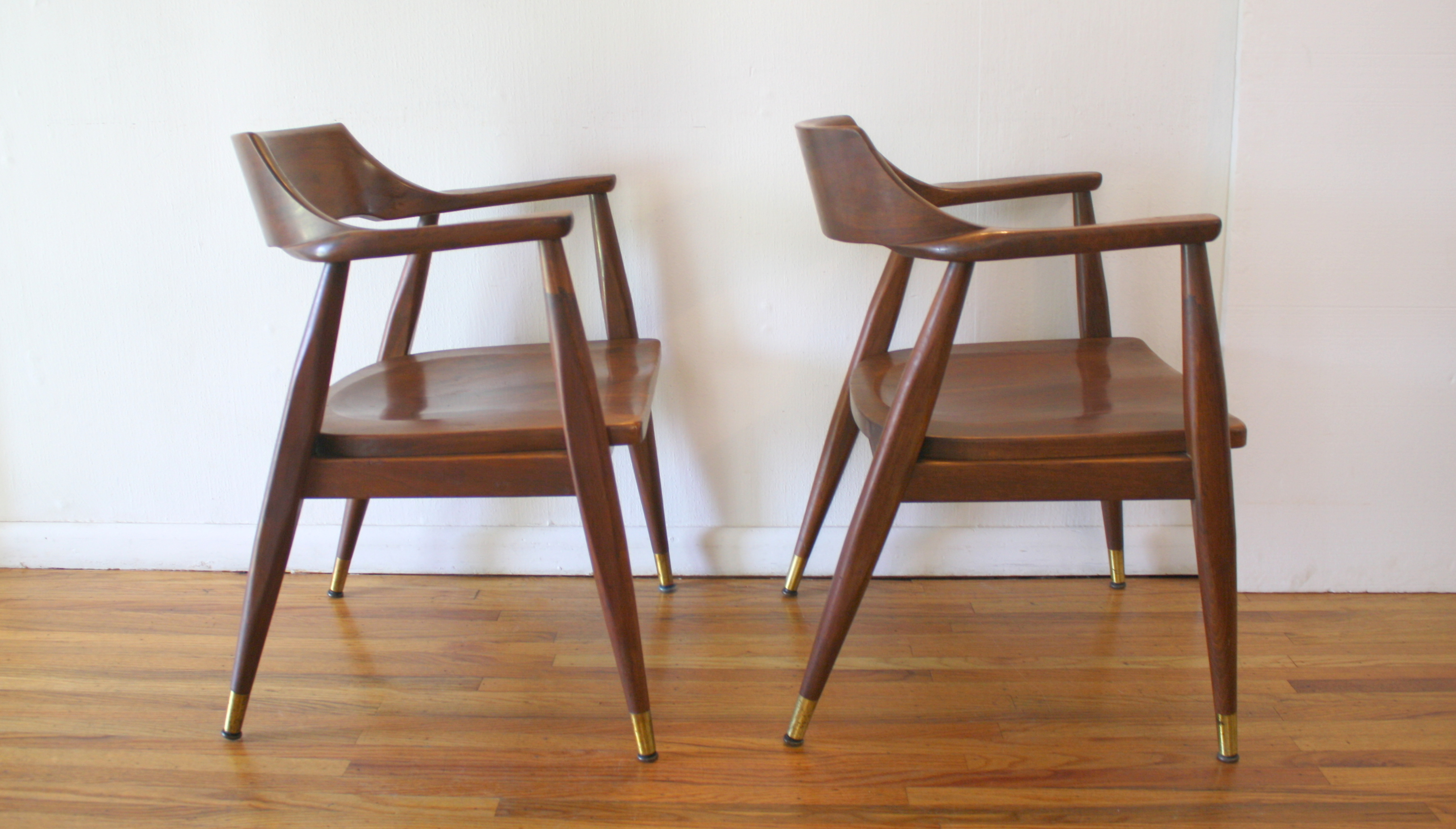 solid oak pressed back chairs master bedroom chair rail mcm pair of wood arm 2 picked vintage