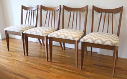 mcm set of 4 dining chairs gray chevron 2