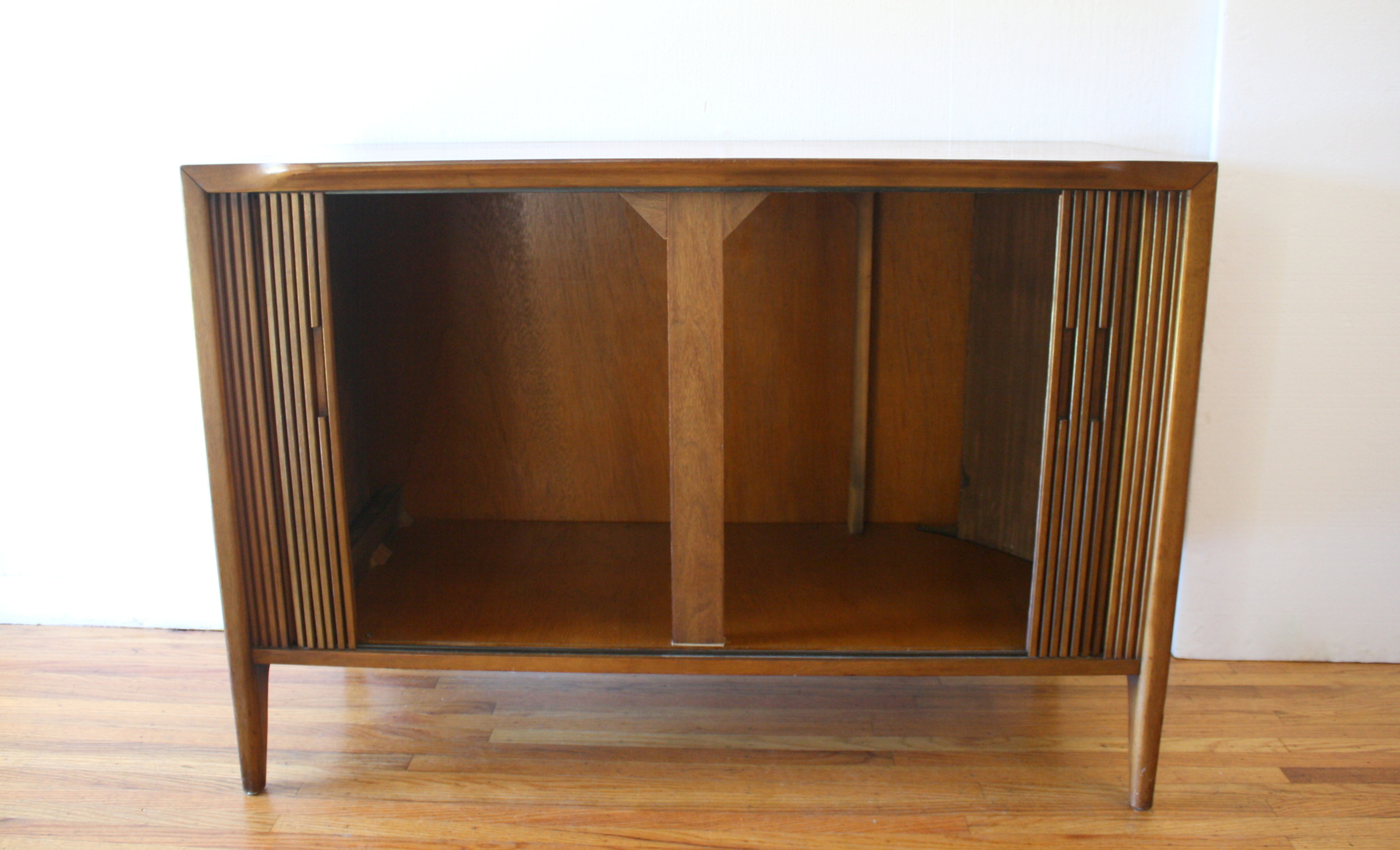 Mid Century Modern Tambour Door Credenza Picked Vintage
