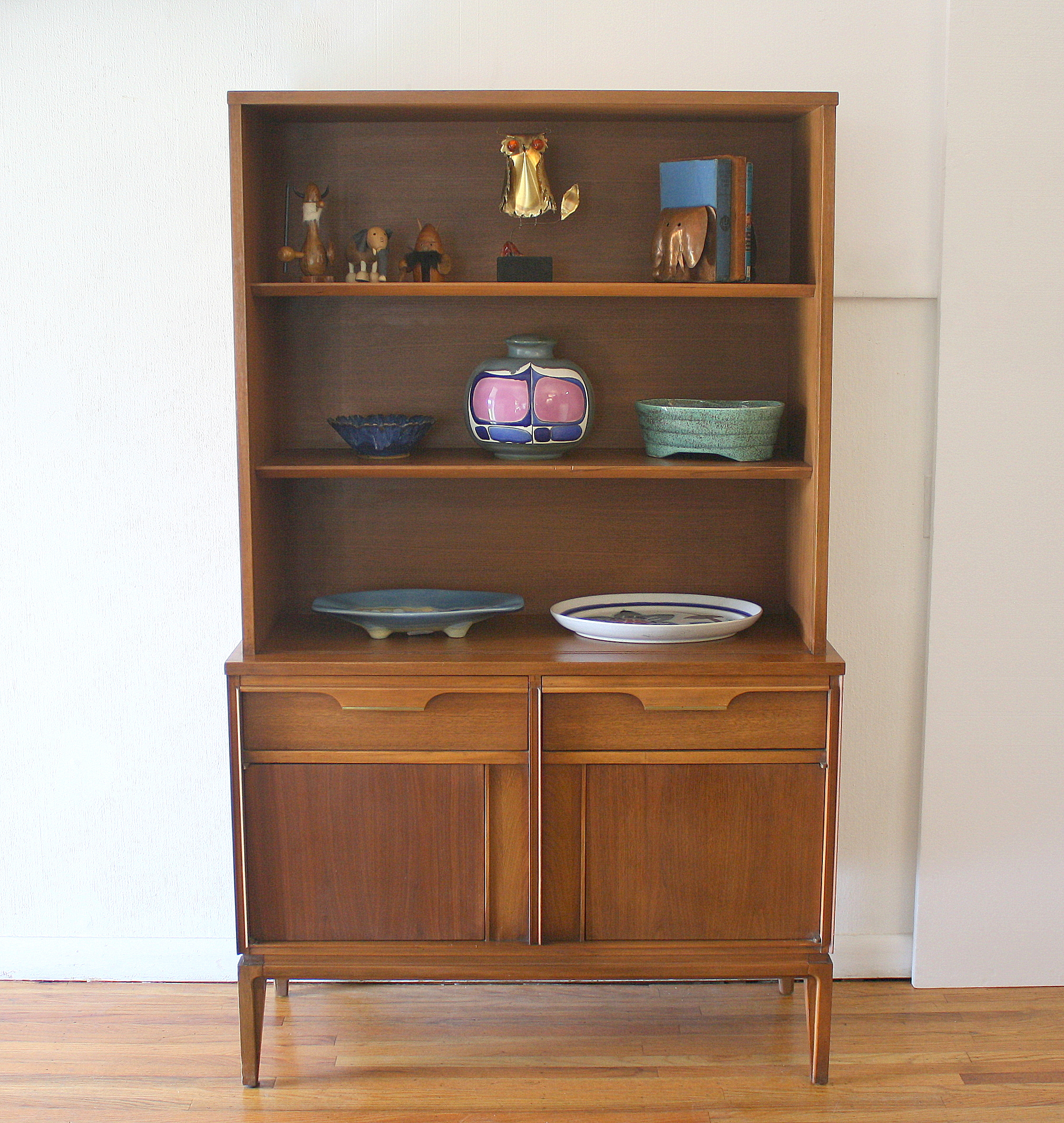 Mid Century Modern China Cabinet Hutch Shelf Unit by