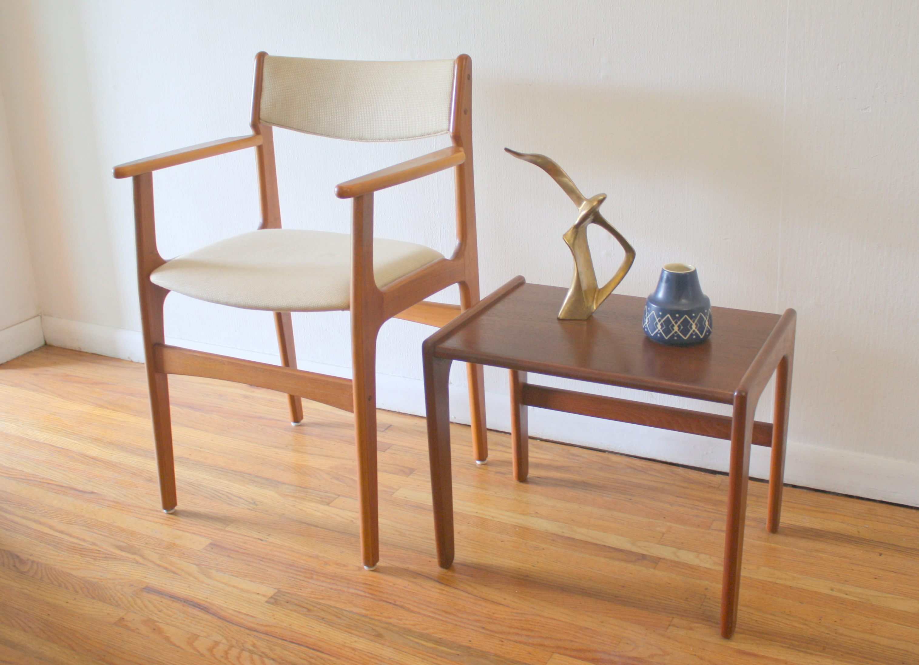 folding chair brands vintage tables and chairs mid century modern danish teak arm & side end table | picked