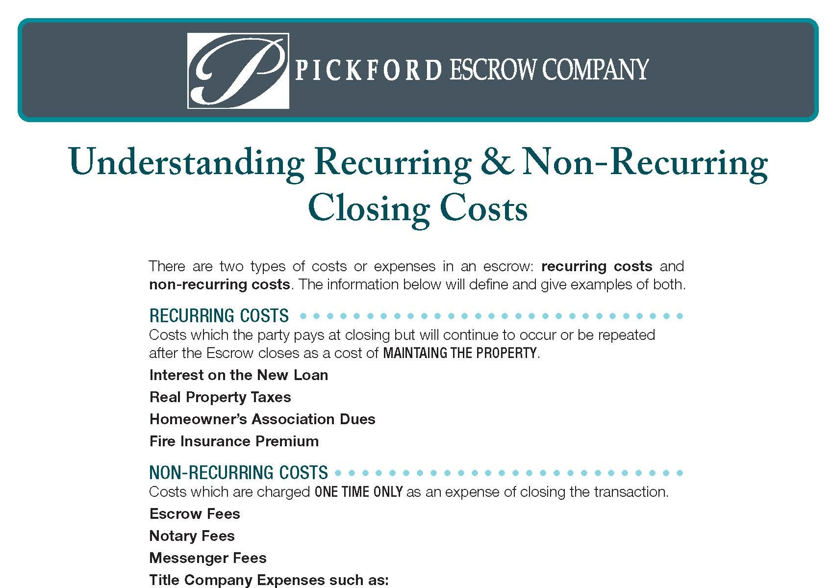 Closing Costs Understanding Closing Costs