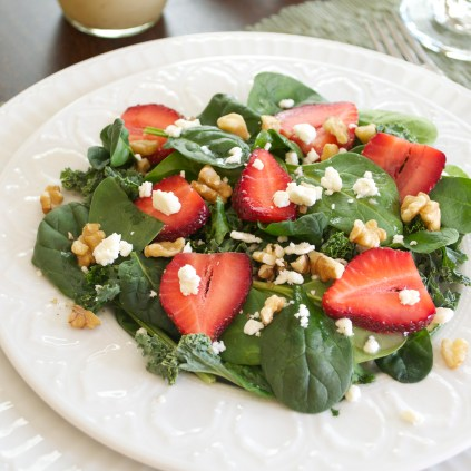 Spring Salad with spinach kale feta walnuts
