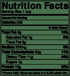 NutritionLabel-Mexican Quinoa Bowl