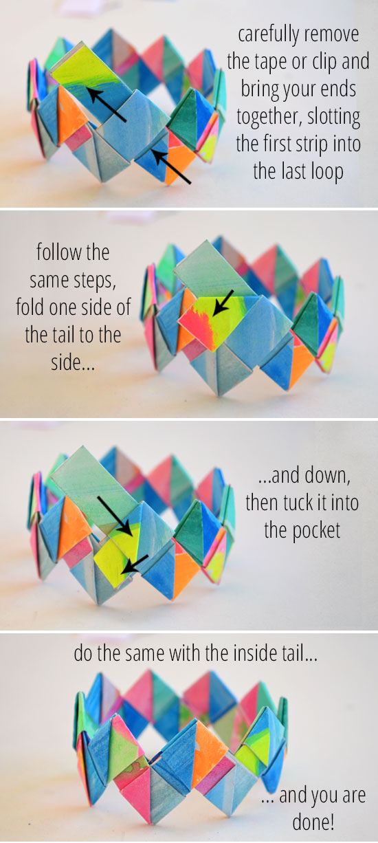 diagram origami bracelet window motor wiring how to make folded paper bracelets picklebums this lovely