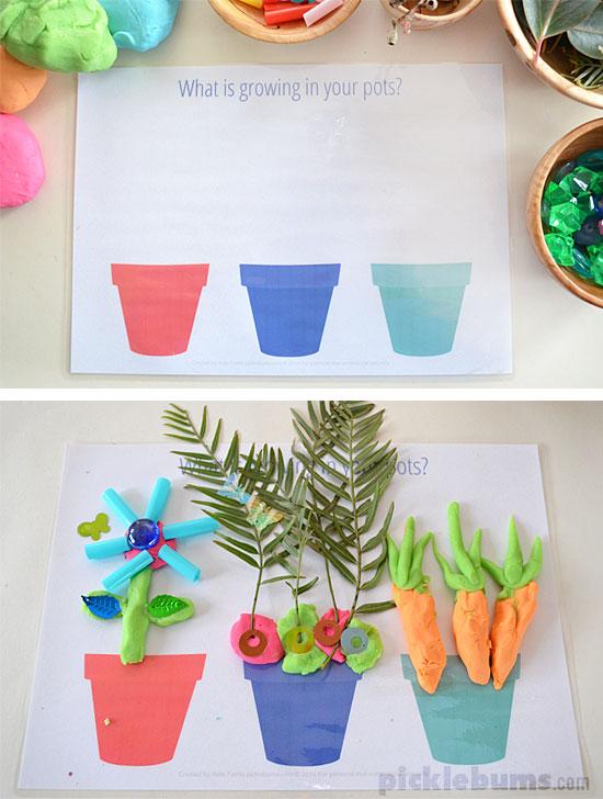 Free Printable Garden and Growing Play Dough Mats!