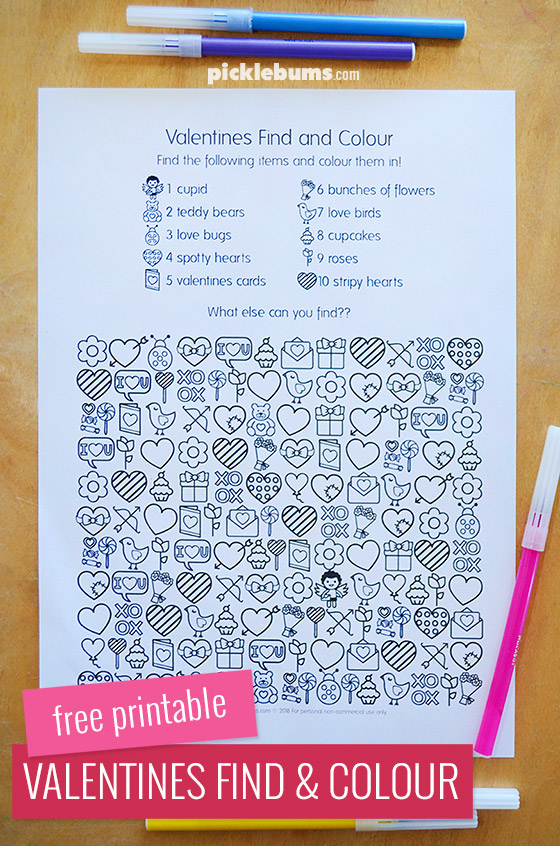 Free Printable Valentines Find And Colour Activity
