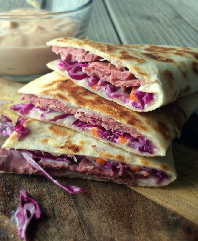 Reuben Quesadillas with Russian Dipping Sauce - Pickled ...