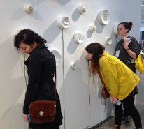 awe/agency, Installation shot during Reconstructing Craft: Feminism and Contemporary Ceramics, PNCA Commons, Organized by Sarah Tancred on the occasion of NCECA 2017, Porcelain, audio equipment, video, abortion stories. Image by Sarah Tancred.