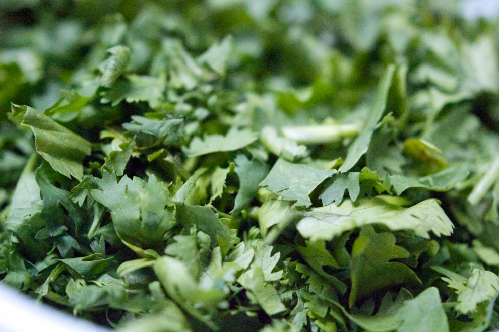 Yes, you're right--this is cilantro, not pickled tea leaves. Read on to find out about the absentee pickled tea leaves...
