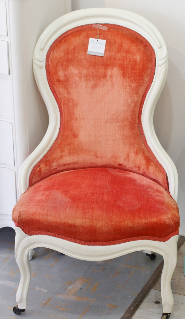 Strawberry  Cream Antique Victorian Parlor Chair