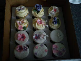 Cupcakes, sugarpaste flowers, flower paste flowers and ribbons