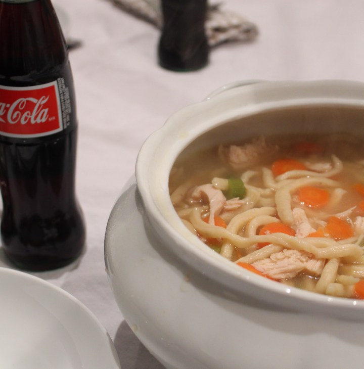Homemade Chicken Noodle Soup with a Soda on the side