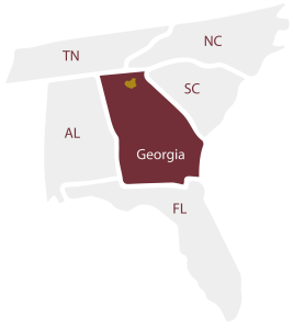 A map highlighting Georgia state, with the surrounding states labelled. Tenessee, North Carolina, South Carolina, Florida and Alabama