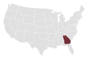 A map highlighting Georgia, and lumpkin county against the whole of the US.