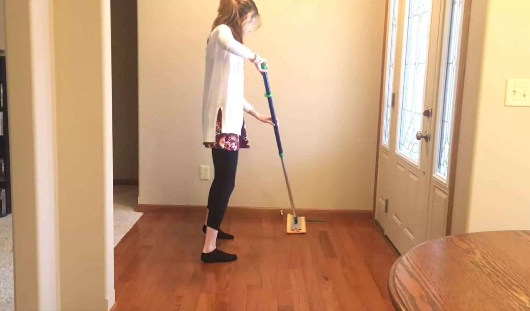 Dampened mops work great on vinyl and hardwood floors