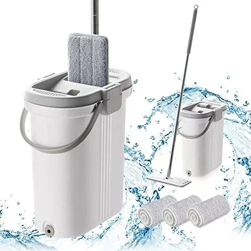 BOOMJOY Microfiber Flat Mop with Bucket
