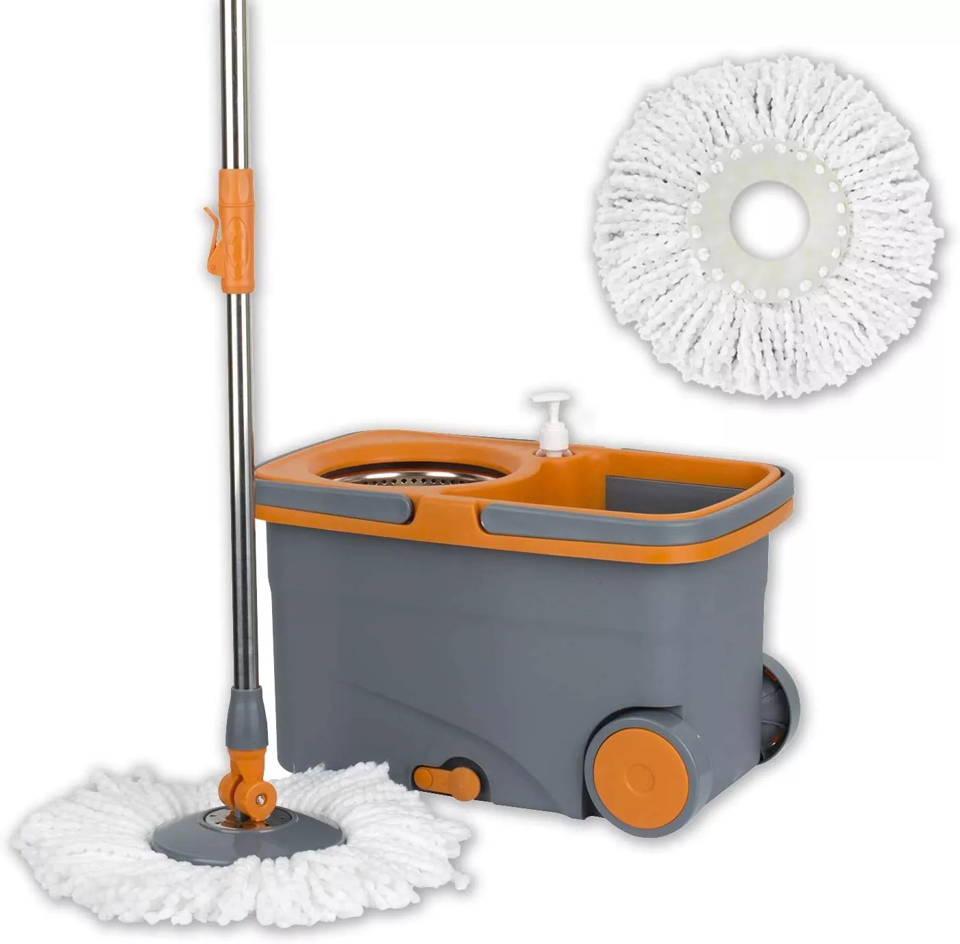 Casabella Graphite/Orange Spin Cycle Mop with Bucket
