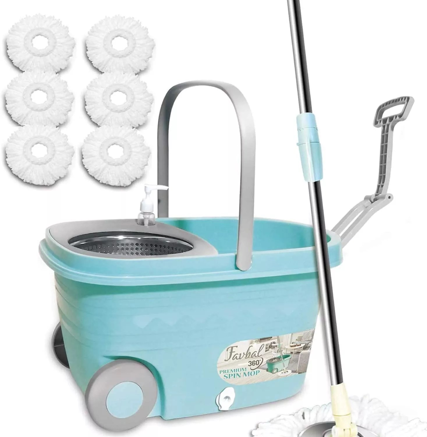 Favbal Stainless Steel Spinning Mop and Bucket with Wringer Home Cleaning Kit