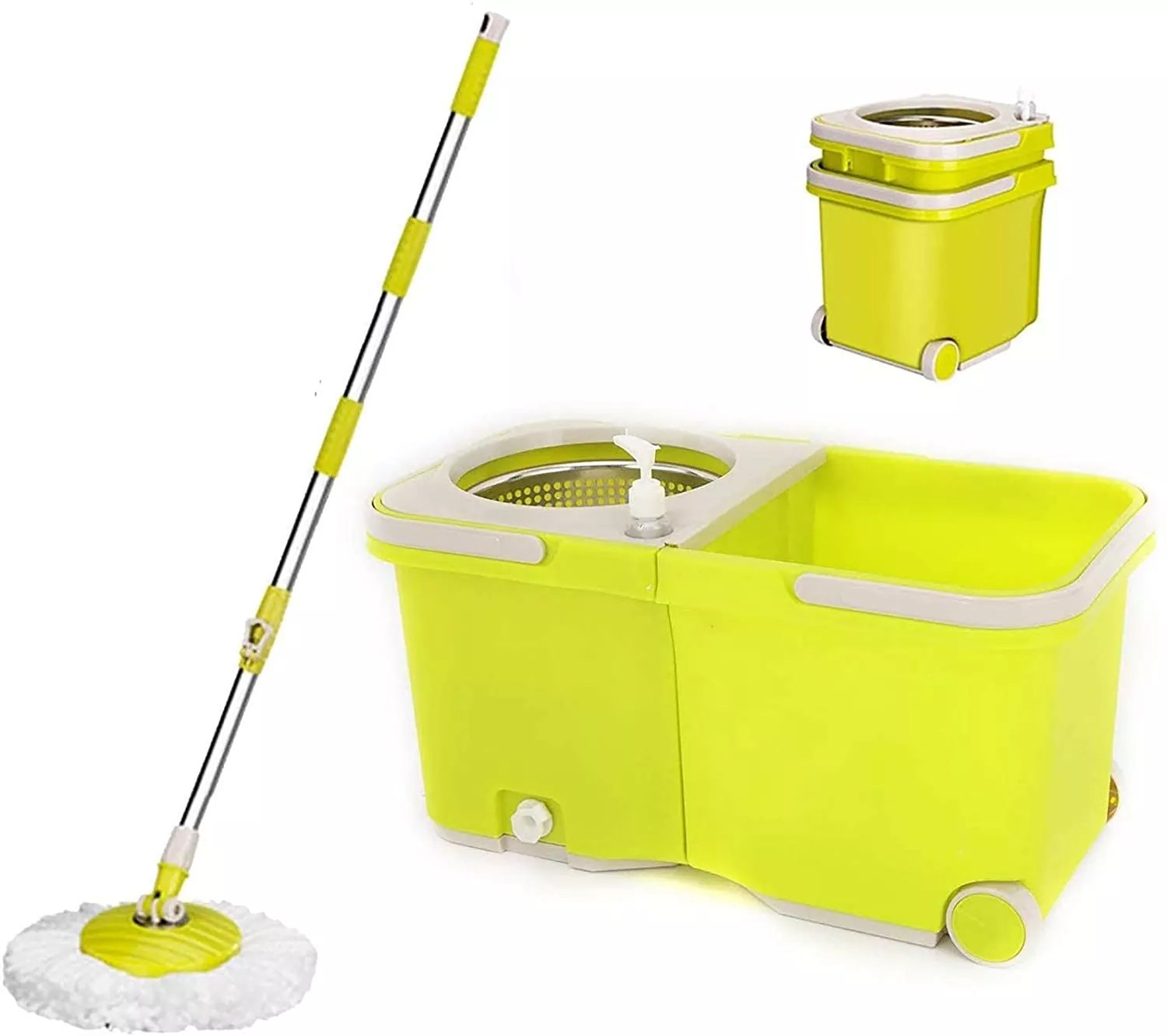 UMIEN Spin Mop and Bucket System – 360° Self Wringing Spinning Mop with Stackable Bucket On Wheels