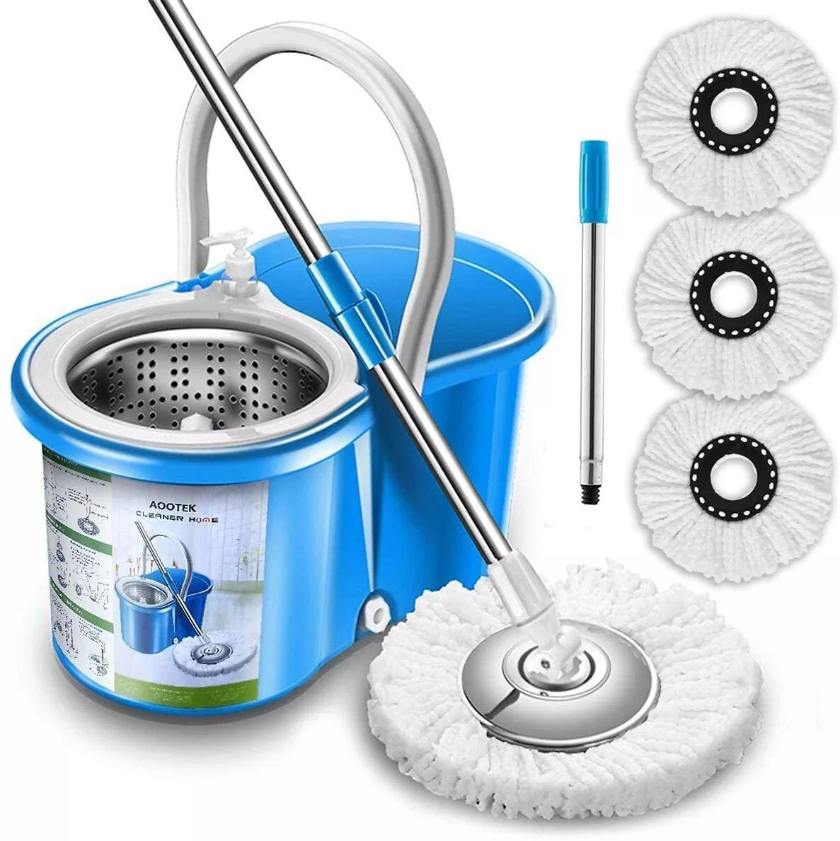 Aootek Upgraded Stainless Steel Deluxe 360 Spin Mop & Bucket Floor Cleaning System