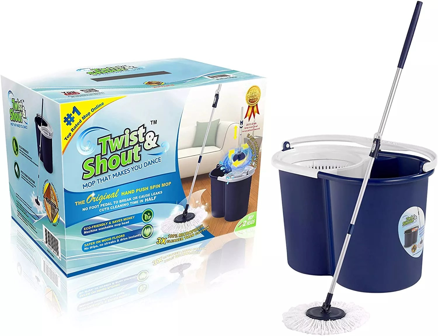 Twist and Shout Mop - Award-Winning Original Hand Push Spin Mop