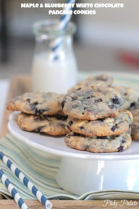 Maple and Blueberry Pancake White Chocolate Chip Cookies