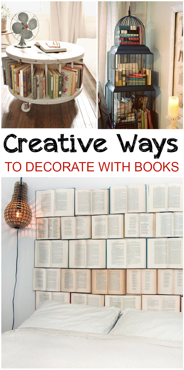 Unique Ways To Decorate Living Room: Creative Ways To Decorate With Books • Picky Stitch
