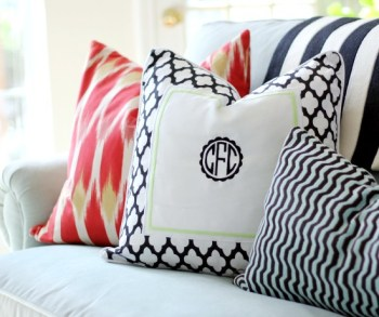 Home decor monograms, DIY home decor, DIY home, popular pin, decor ideas, sewing projects, monogrammed pillows.