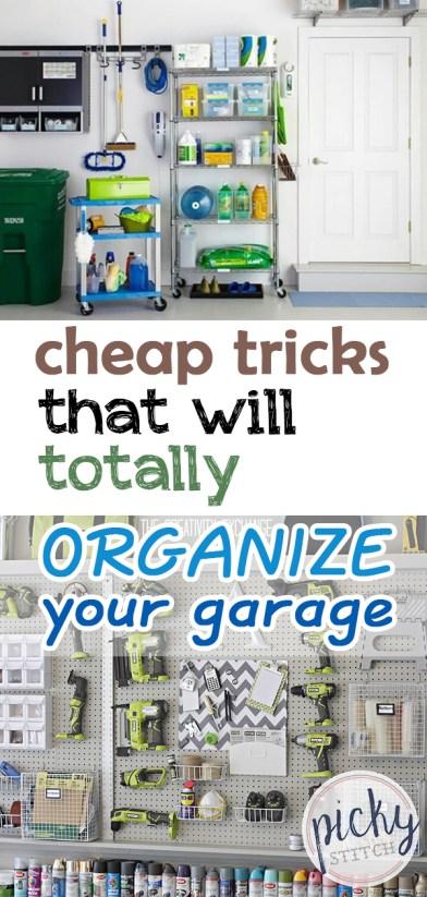 Cheap Garage Organization Tricks | Garage Organization, Garage Organization Ideas, Organize Garage, Organize Garage Ideas, Organize Garage Declutter, Decluttering, Decluttering Ideas, Home Organization, Home Organization Ideas