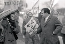 Michael Guido at a public demonstation against the Ford owned Landfill. Guido became the Mayor of Dearborn, and served 6 terms (spanning 21 years)