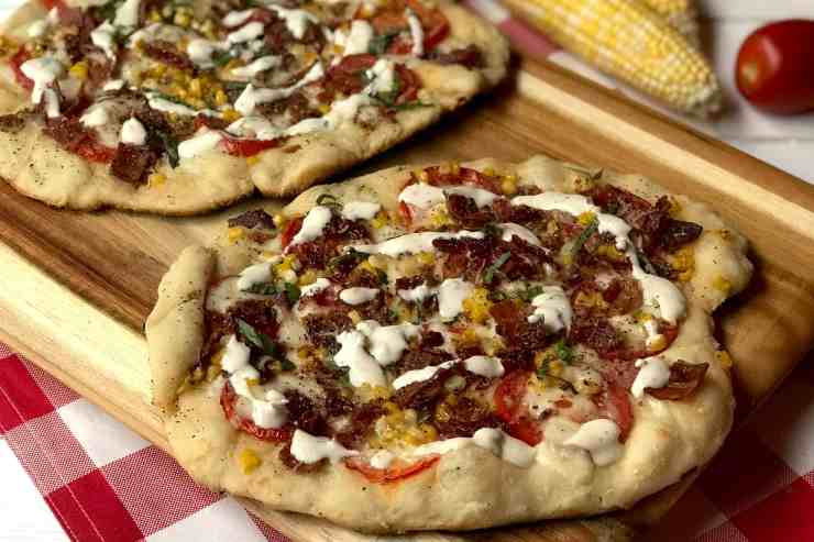 Sweet corn, bacon, tomato and basil Pizza